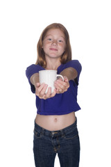 young red head girl with cup