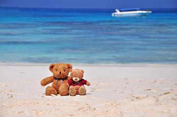 Two Teddy Bears sitting on the beach.