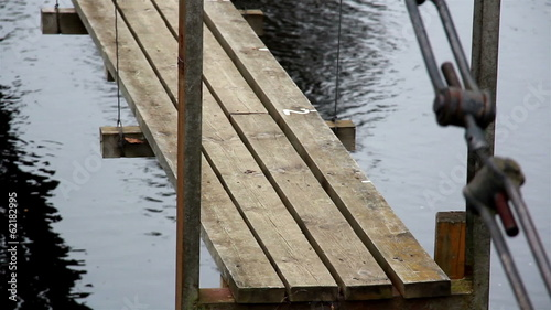 Closer image of the wooden hanging bridge