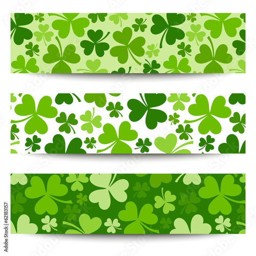 Three vector St. Patrick's day banners with shamrock.