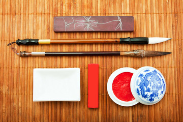 the Chinese set for calligraphy, the art of calligraphy, brush f