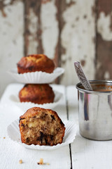 Apple muffins with chocolate and nuts