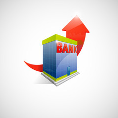 Illustration of bank building and red arrow up on background