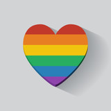 Heart-shaped icon with rainbow flag