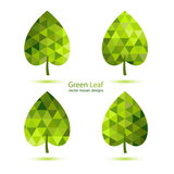Green mosaic vector leaf