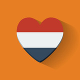 Heart-shaped icon with flag of Netherlands
