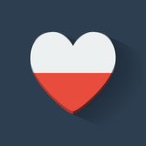 Heart-shaped icon with flag of Poland