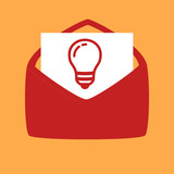 envelope with a light bulb.