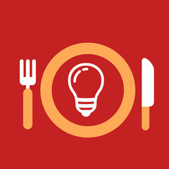 plate with knife and fork with an icon of light bulb