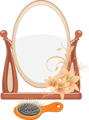 Mirror and hairbrush isolated on the white