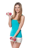 Young teen girl with dumbbells