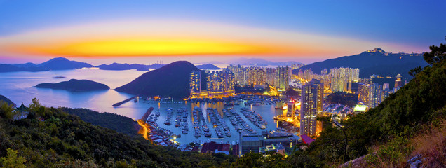 Sunset at typhoon shelter in mountain in Hong Kong
