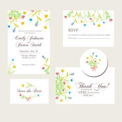 watercolor flowers wedding invitations set