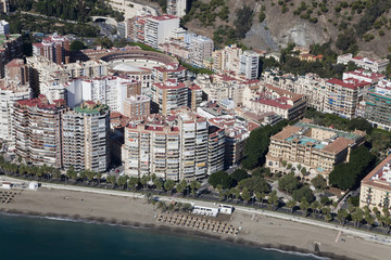 Malaga city downtown beach seen from the air.