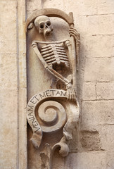 Grim reaper skeleton on Church of Purgatory (1747), Bitonto