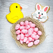 Easter background on white wooden desk