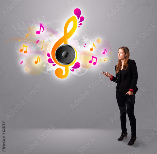 pretty girl singing and listening to music with musical notes