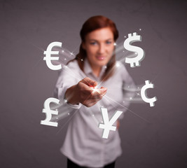 Young lady throwing currency icons