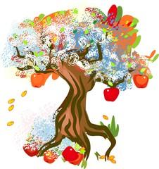 Picturesque apple tree