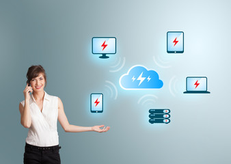 Young woman making phone call and presenting cloud computing net