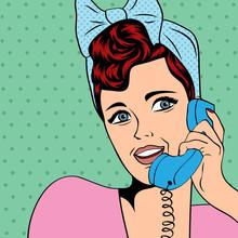 femme bavarder au téléphone, pop art illustration