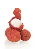 fresh lychees with one peeled
