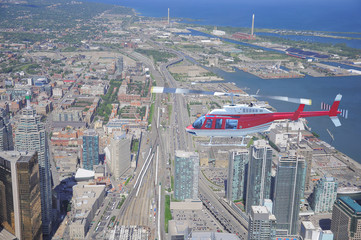 Helicopter above the center of Toronto. Ontario.