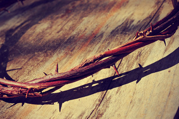 the Jesus Christ crown of thorns, with a retro filter effect