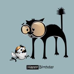 Happy Birthday funny bird cat smile