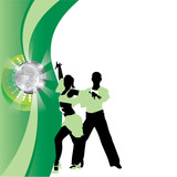 salsa dancing couple on a green background