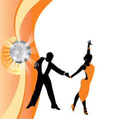 couple dancing on orange background