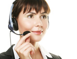 cheerful support phone operator in headset