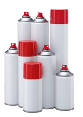Spray paint cans. Isolaated on white.