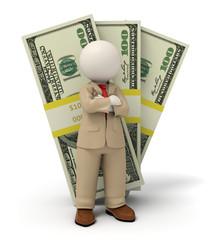 3d business man in beige suit - pack of money