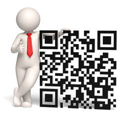 3d business man showing thumbs up near a QR code