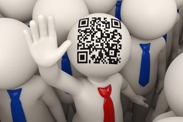 3d business people waving - QR code