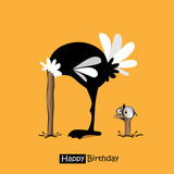 Happy Birthday smile birds funny ostrich