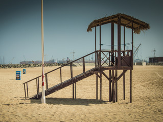 Lifeguard watchtower at Dubai beach, UAE