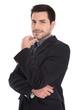 Erfolgreicher junger Geschäftsmann isoliert und lachend