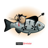 Happy Birthday smile cat with fish