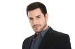 Gesicht: Geschäftsmann isoliert in Anzug