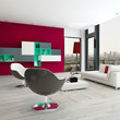 Living room interior with red wall and modern furniture
