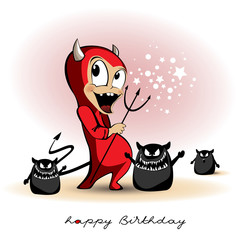 Happy Birthday smile Devil monster cartoon