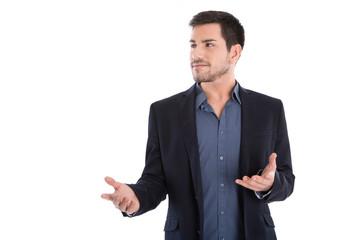 Referent: junger Business Mann hält einen Vortrag: Kommunikation