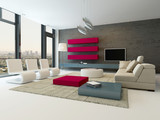 Modern living room interior with stone wall and red cupboard