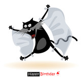 Happy Birthday smile flying cat