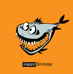 Happy Birthday smile fish card