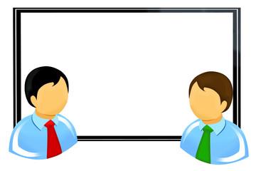 Hommes d'affaires devant tableau blanc