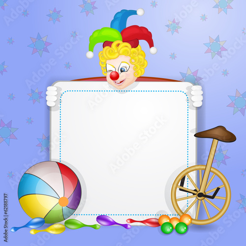 Clown with ball and unicycle