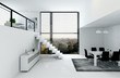 White loft with stair and dining table